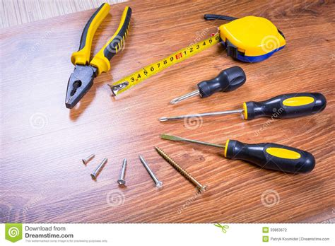 set of tools for home renovation stock photography image