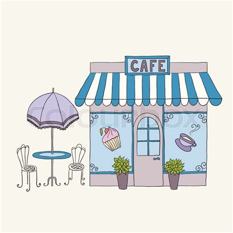 Door Awning Plans Cartoon Vector Illustration Of Street Cafe With Tables
