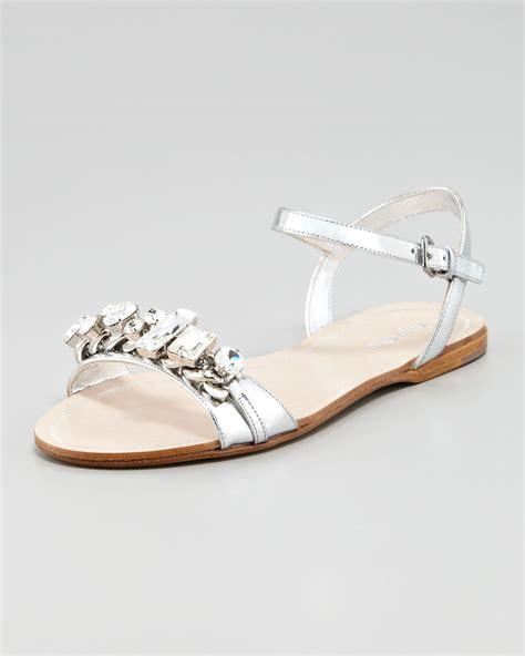 Flat Miu Miu miu miu flat sandals in metallic lyst
