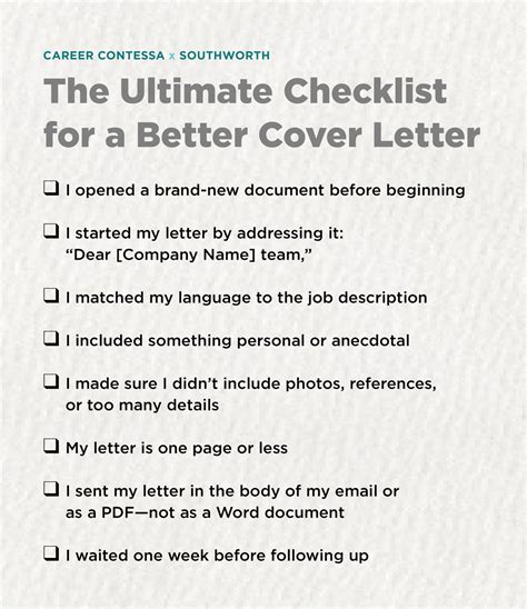 Better Cover Letter by The Ultimate Checklist For A Better Cover Letter Career