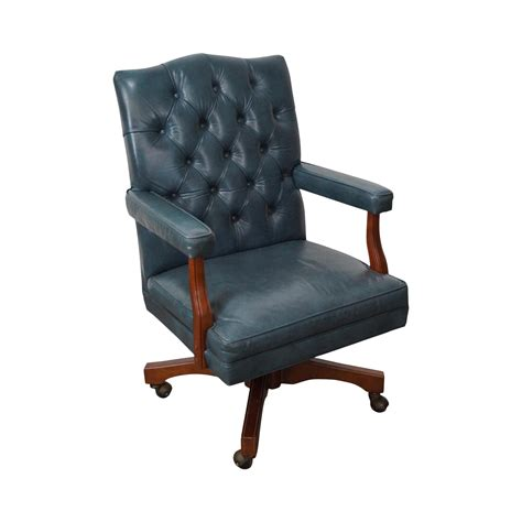 vintage tufted leather office chair vintage blue tufted leather executive desk chair chairish