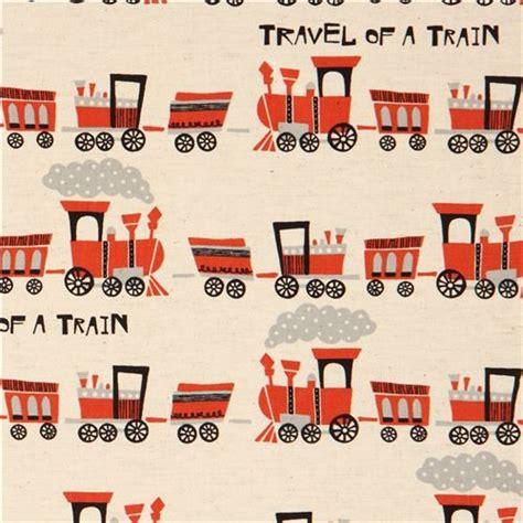 Ballard Design Mirrors ecru train canvas fabric by kokka fabric by modes