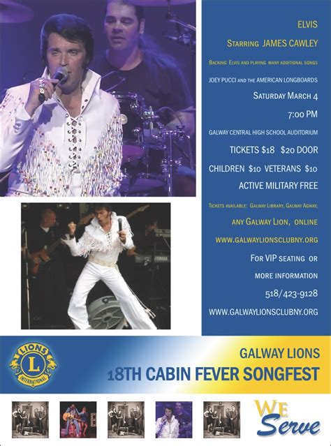Cabin Fever Song List by Galway Lions Club Serving Greater Galway New York Area