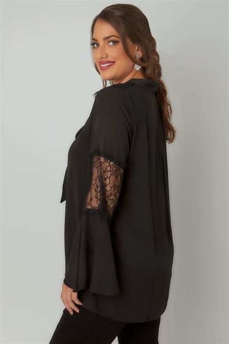 Lace Bow Sleeve Blouse black lace blouse with flute sleeves bow tie plus