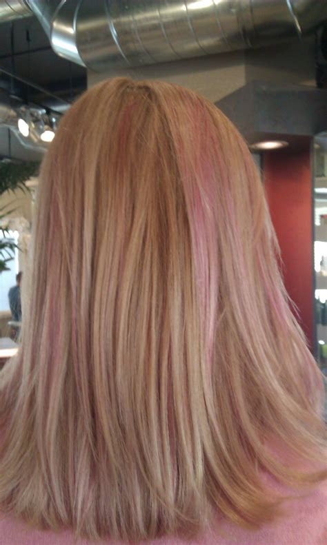the gallery for gt brown hair with light pink highlights