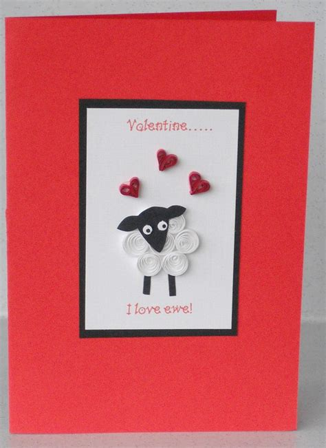 Valentines Card Handmade - quilled s card sheep handmade quilling i