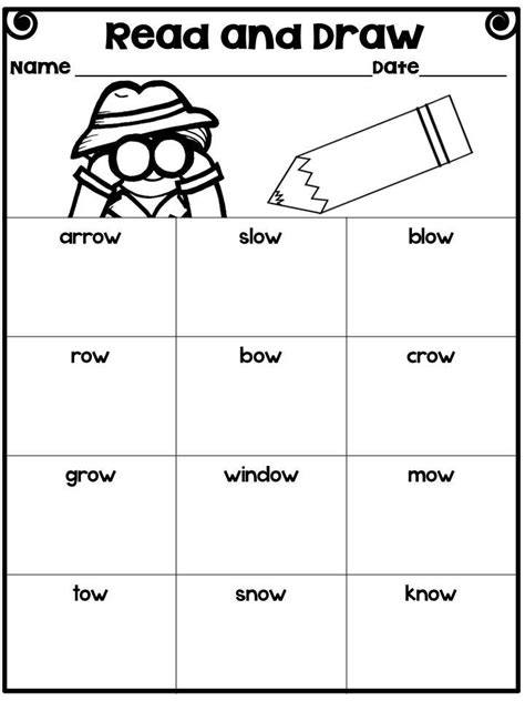 o vowel team oa and ow word sorts poems