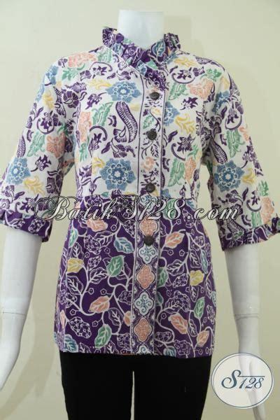 Batik Hem Anak Sabrina Daun batik motif daun dan bunga untuk blus batik kerja wanita