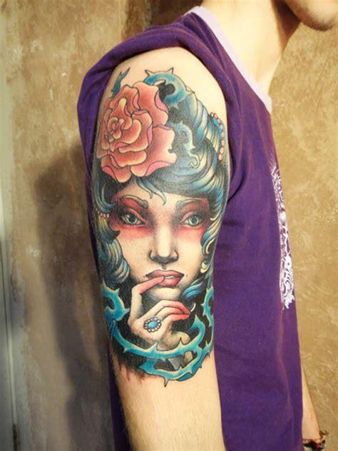 tattoo girl blue hair tattoo girl with blue hair by xenija88 on deviantart