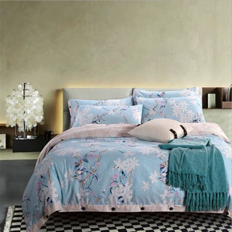 Solid Color Quilts For Bedding Reversible 100 Cotton Blue Duvet Cover Solid Color