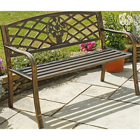 swing seat homebase garden cast iron bench brown