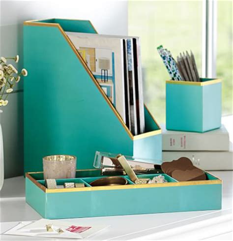 Turquoise Desk Accessories Printed Paper Desk Accessories Set Everything Turquoise
