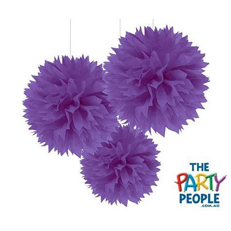hanging pom poms from ceiling ceiling hanging decoration tissue pom pom purple 3 pk