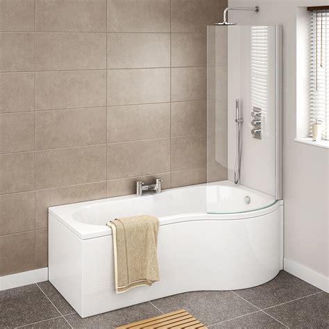 cruze p shaped mm curved shower bath  screen