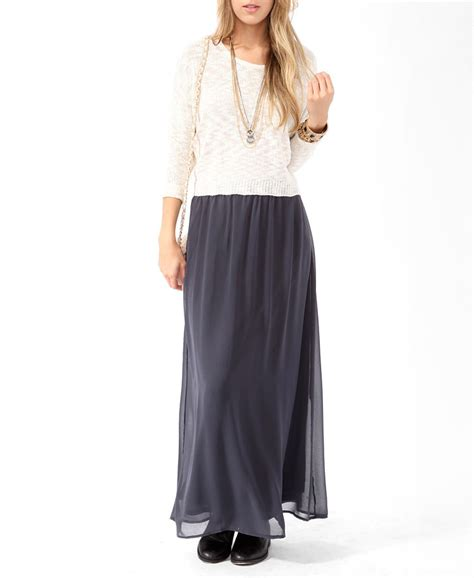 gray chiffon maxi skirt dress ala