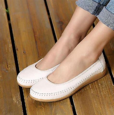 Sepatu Boots Kulit Wanita baru wanita asli sepatu kulit wanita flat balet flat sepatu wanita sepatunya di luar ruangan