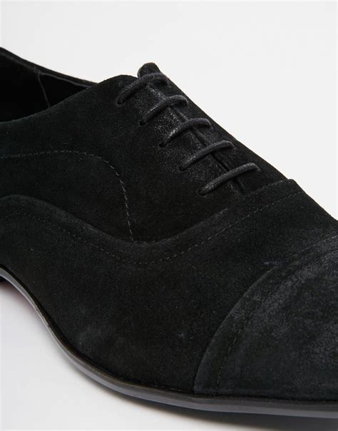 black suede oxford shoes lyst asos oxford shoes in black suede in black for