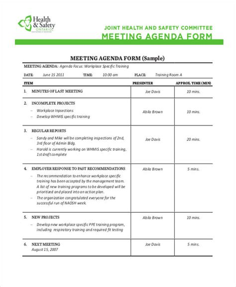 format absen safety talk safety meeting agenda colomb christopherbathum co