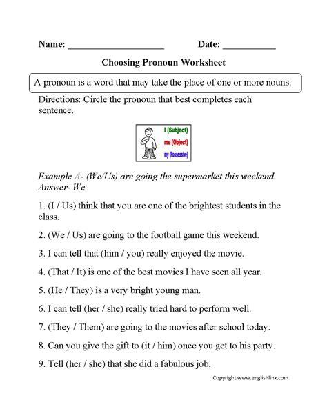personal pronouns worksheet 6th grade possessive