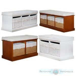 Indoor Bench Seat With Storage 2 3 Seater Wooden Willow Basket Storage Unit Indoor Bench