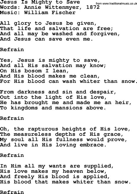 Hymns about God's Forgiveness, title: Jesus Is Mighty To