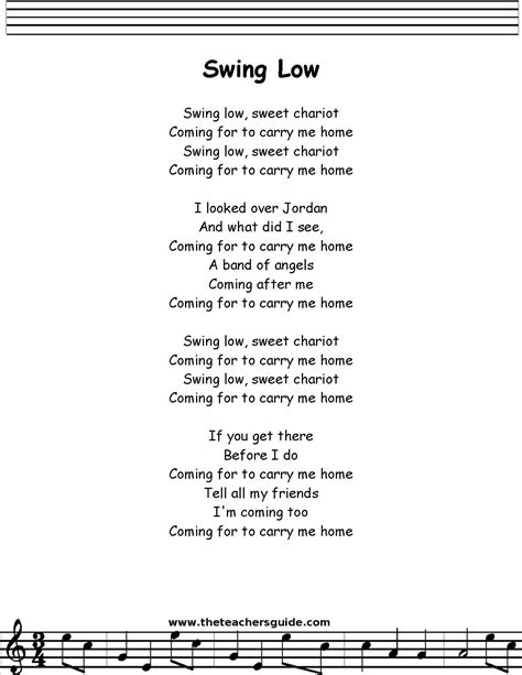 swing low lyrics swing low sweet chariot lyrics printout midi and