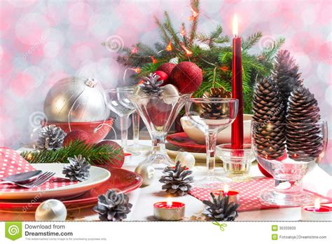 festive decorations christmas xmas eve table setting supper stock image