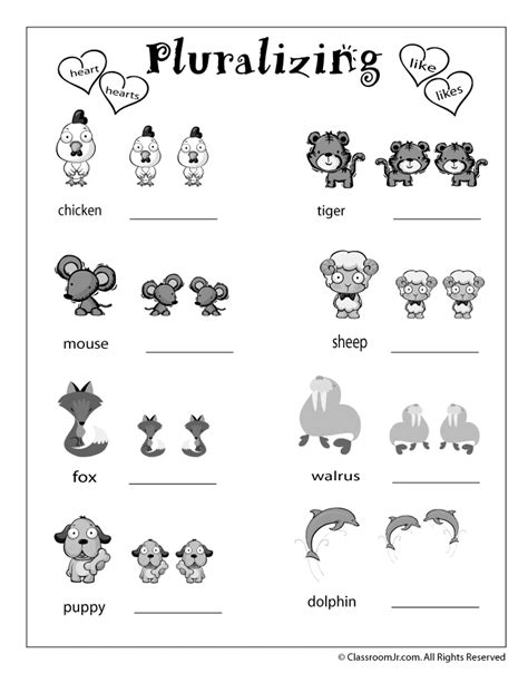 kindergarten activities language arts plural words worksheet woo jr kids activities