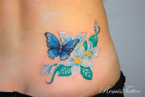 the blue tattoo blue butterfly with flower
