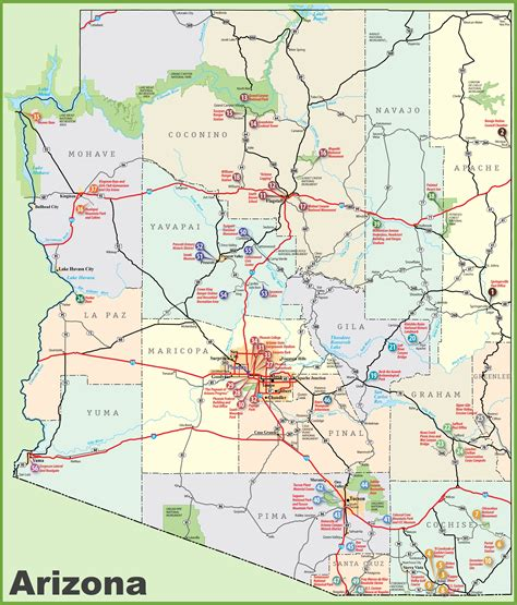 arizona map usa maps update 600364 arizona tourist map northern