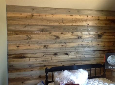 wood feature walls  pine planks stained