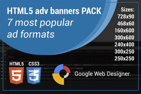 Html5 Adv Banner Template Html Css Themes On Creative Market Html5 Banner Template