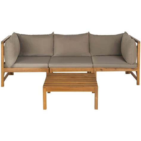 Patio Sectional Cushions by Safavieh Lynwood Modular Teak Brown Outdoor Patio