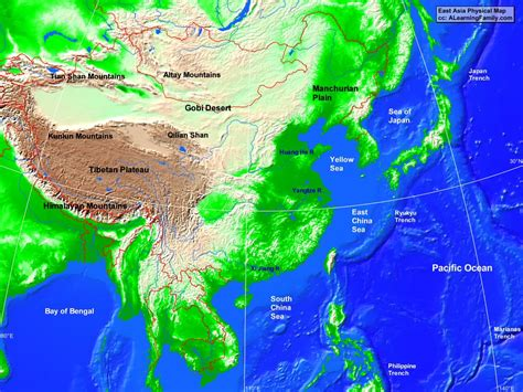 east asia physical map east asia physical map a learning family