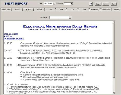 production end of shift report template www docstoc docs 89506465 security end of shift report