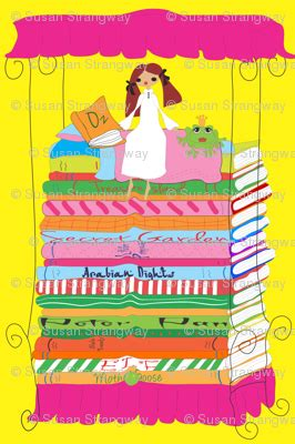 the bee with the backward stripes books princess and pea bed of books pink fabric orangefancy