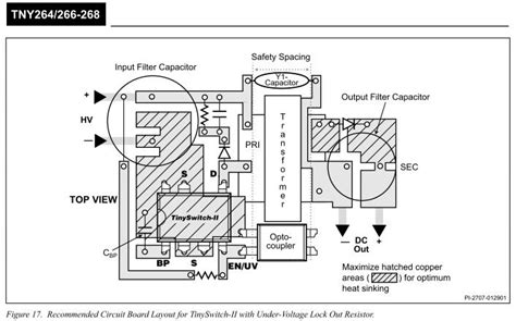 considerations in layout design tny268 smps layout thermal considerations