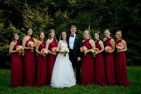 crimson color dress crimson bridesmaid dresses for a fall or winter wedding