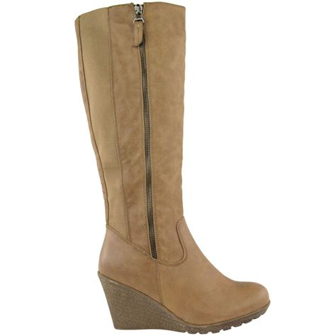 womens wedge heel knee high mid calf wide leg