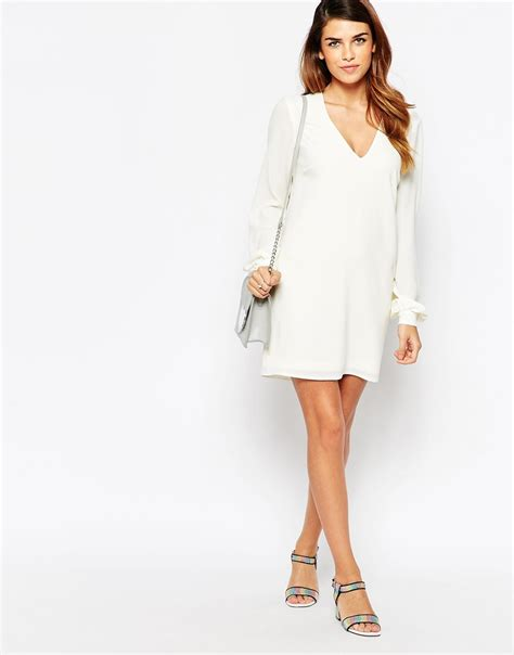 Sleeve V Neck Shift Dress lyst asos bell sleeve shift dress with v neck in