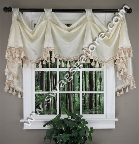 swag kitchen curtains faux silk victory valance ivory jabot swag kitchen curtains