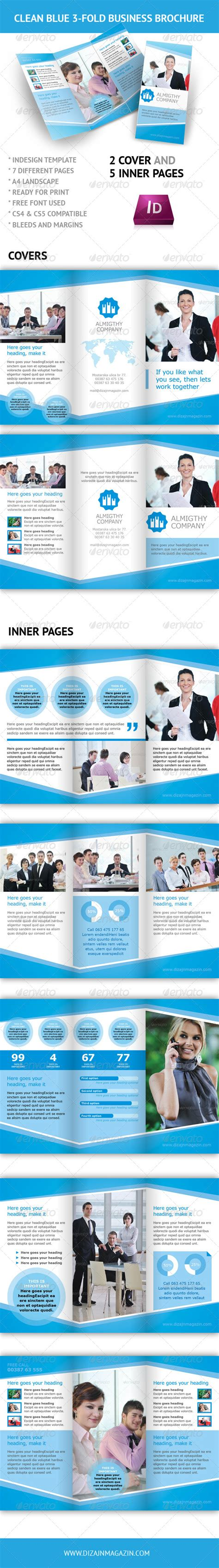 3 fold brochure template indesign clean blue 3 fold business brochure indesign graphicriver