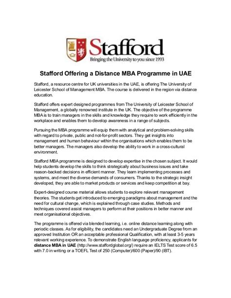 Distance Mba In Uae by Stafford Offering A Distance Mba Programme In Uae