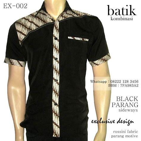 Kemeja Hem Atasan Baju Seragam Pria Batik 1358 Ungu 20 model baju batik pria kombinasi kain polos terbaru