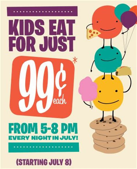 home town buffet kids eat for 99 every night in july