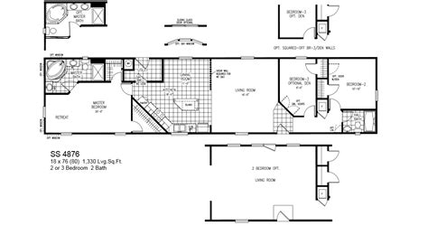 18 wide mobile home floor plans model ss 4876 18x76 2or3bedroom 2bath oak creek mobile home tiny houses manufactured homes