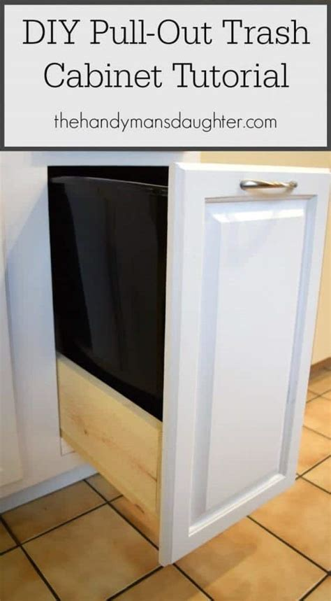 diy trash can cabinet diy pull out trash can cabinet tutorial the handyman s