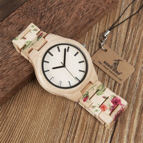 Bobo Bird Pine Wood Luxury With Uv Printing Flower bobo bird wl26 strong pine wood watches brand designer