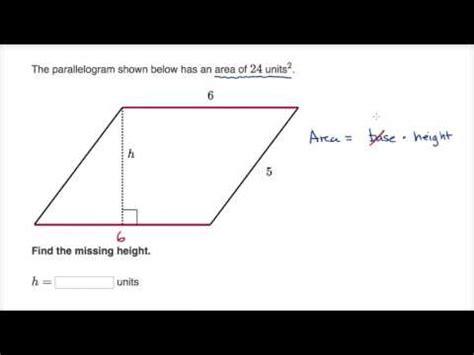 finding height of a parallelogram (video) | khan academy