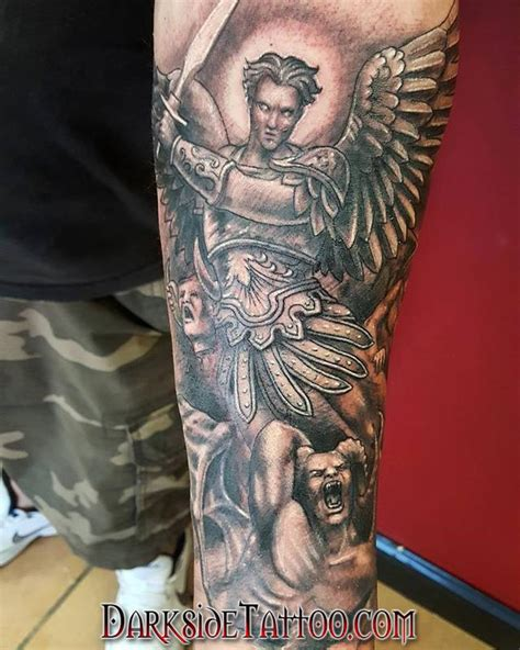 tattoo pens michaels black and gray st michael tattoo by dave racci tattoonow